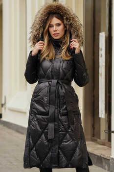 Длинное пальто зимнее с нашивкой на спине