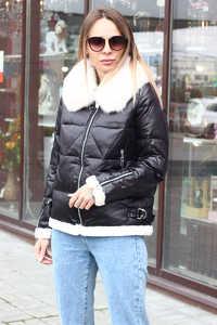 Зимний пуховик с накладными карманами цвета хаки