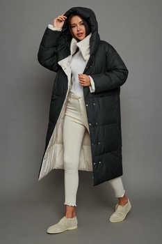 Теплый женский пуховик ниже колена с капюшоном