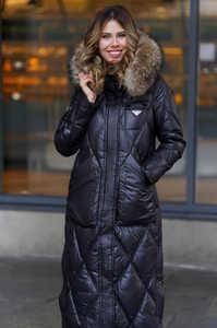 Теплый пуховик Vo-tarun зимний с меховым капюшоном